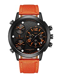 cheap -Men's Sport Watch Japanese Quartz Genuine Leather Black / Blue / Red 30 m Calendar / date / day Three Time Zones Analog Fashion - Yellow Red Orange / Black