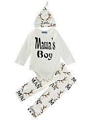 cheap -Baby Boys' Cotton / Casual / Daily Print Long Sleeve Regular Regular Cotton Clothing Set White / Toddler