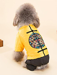 cheap -Dog Vest Dog Clothes Embroidered Yellow Red Cotton Costume For Spring &  Fall Winter Men's Women's Casual / Daily New Year's