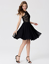 cheap -A-Line / Princess Jewel Neck Knee Length Chiffon / Lace Little Black Dress / Beautiful Back Cocktail Party / Prom Dress with Crystals by TS Couture®