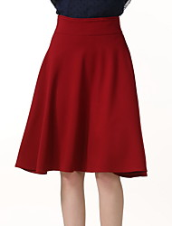 cheap -Women's Daily / Holiday / Going out A Line / Swing Skirts - Solid Colored Black Red Wine XXXL XXXXL XXXXXL / Club