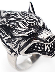 cheap -Men's Silver Stainless Steel Wolf Punk Gothic Hip-Hop Halloween Stage Jewelry Wolf