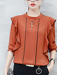 cheap -Women's Daily Going out Weekend Street chic Blouse - Solid Colored Ruffle Yellow / Fall
