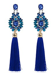 cheap -Women's Synthetic Sapphire Drop Earrings Flower Personalized Tassel Vintage Fashion Oversized Earrings Jewelry Blue For Party Ceremony