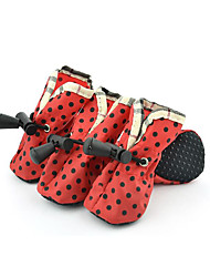 cheap -Dog Boots / Shoes Waterproof Polka Dot Red Green Blue For Pets