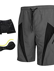 Недорогие -SANTIC Муж. Велошорты с подкладкой - Серый Пэчворк Классика Велоспорт Шорты Шорты с защитой Шорты для горного велосипеда, Дышащий 3D-панель Быстровысыхающий Полиэстер Спандекс