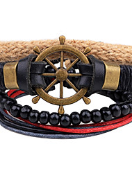 cheap -Men's Bead Bracelet Wrap Bracelet Leather Bracelet Rope woven Anchor Personalized Wooden Bracelet Jewelry Black For Casual Stage Street Going out Club
