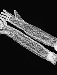 cheap -Breathable Mesh / Net Opera Length Glove Simple / Transparent / Mesh With Ruffles