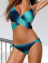 abordables -Femme Licou Bleu Rose Claire Jaune Envelopper Slip Brésilien Bikinis Maillots de Bain - Arc-en-ciel Croisé L XL XXL Bleu / Sexy