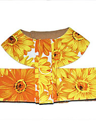 cheap -Dog Harness Adjustable / Portable / Breathable Flower / Floral Fabric Black / Yellow / Green