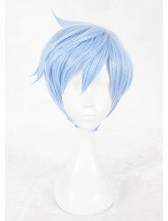 cheap -Synthetic Wig Cosplay Wig Straight Straight Wig Short Blue Synthetic Hair Faux Locs Wig Blue