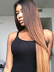 cheap -Remy Human Hair Unprocessed Human Hair Glueless Lace Front Lace Front Wig Rihanna style Brazilian Hair Straight Ombre Wig 130% Density with Baby Hair Faux Locs Wig Ombre Hair Natural Hairline African
