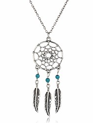 cheap -Women's Turquoise Pendant Necklace Chain Necklace Leaf Wings Dream Catcher Bohemian Vintage Fashion Turquoise Alloy Silver Necklace Jewelry For Gift Daily Casual Street Club