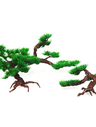 cheap -1Pcs Artificial Plastic Pine Tree Aquarium Decor Accessories Home Office Hotel Decoration Fish Tank Rockery Bonsai Ornament