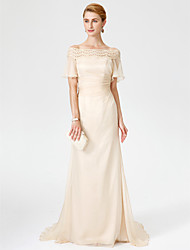 cheap -Sheath / Column Off Shoulder Sweep / Brush Train Chiffon / Lace Short Sleeve Elegant Mother of the Bride Dress with Pleats 2020