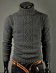 cheap -Men's Daily / Going out / Work Street chic Solid Colored Long Sleeve Slim Regular Pullover Sweater Jumper, Turtleneck Winter Light gray / Dark Gray M / L / XL / Weekend