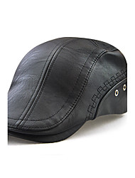 cheap -Men's Active Outdoor PU Beret Hat-Solid Colored Embroidered Black Brown