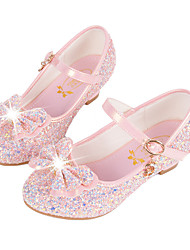 cheap -Girls' Comfort / Novelty / Flower Girl Shoes Synthetic Microfiber PU Flats Little Kids(4-7ys) / Big Kids(7years +) Buckle / Sequin White / Pink / Blue Fall / Winter / TPR (Thermoplastic Rubber)