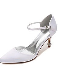 cheap -Women's Satin Spring / Summer Comfort / D'Orsay & Two-Piece Wedding Shoes Kitten Heel / Cone Heel / Low Heel Pointed Toe Hollow-out Blue / Champagne / Ivory / Party & Evening