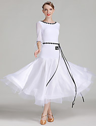 cheap -Ballroom Dance Women's Performance Senior Emulation Silk / Tulle / Ice Silk Stitching Lace Half Sleeve Natural Dress / Belt