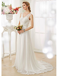 cheap -A-Line Wedding Dresses V Neck Court Train Chiffon Lace Bodice Regular Straps Sexy Illusion Detail Backless with Beading Appliques Button 2020