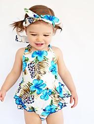 cheap -Baby Girls' Floral Print Sleeveless Cotton Bodysuit Light Blue / Toddler