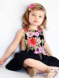 cheap -Toddler Girls' Floral Daily Floral Sleeveless Dress Black / Cotton