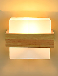 cheap -Northern Europe Modern Glass Wall Lights Wood Art Deco Living Room Dining Room Hallway Wall Sconce