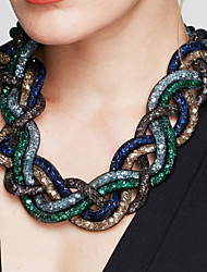 cheap -Women's Statement Necklace Twisted Interwoven Necklace Statement Ladies Vintage Fashion Alloy Black Brown Green Red Blue 52 cm Necklace Jewelry 1pc For Party Special Occasion Birthday Gift