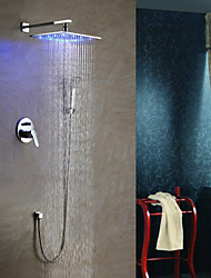 cheap -Shower Faucet - Contemporary / LED Chrome Wall Mounted Ceramic Valve