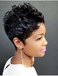 cheap -Human Hair Blend Wig Wavy Classic Short Hairstyles 2020 Berry Classic Wavy Machine Made Natural Black #1B Daily