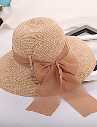 cheap -Women's Straw Hat Sun Hat Straw Hat - Solid Colored Bow Pure Color Summer Light Brown Black Blushing Pink