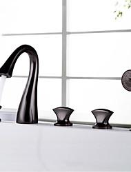 cheap -Bathtub Faucet - Antique / Luxury Oil-rubbed Bronze Widespread Brass Valve Bath Shower Mixer Taps / Three Handles Five Holes