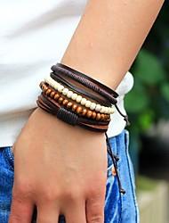 cheap -Men's Bead Bracelet Wrap Bracelet Leather Bracelet woven Personalized Fashion Wooden Bracelet Jewelry Brown For Street