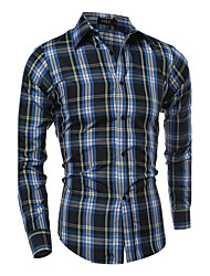 cheap -Men's Plus Size Striped Plaid Shirt Active Daily Standing Collar Black / Beige / Summer / Long Sleeve
