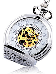 cheap -Men's Pocket Watch Automatic self-winding Silver Hollow Engraving Analog Vintage Steampunk - Silver