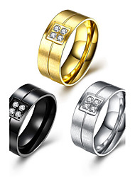 cheap -Men's Band Ring Groove Rings AAA Cubic Zirconia Gold Black Silver Titanium Geometric Line Personalized Luxury Classic Christmas Wedding Jewelry