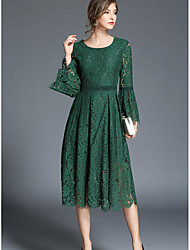 cheap -Women's Flare Sleeve Green White Dress Street chic Spring Daily Holiday Going out Swing Solid Colored S M