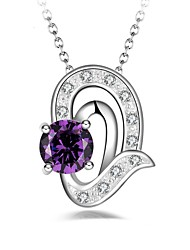 cheap -Women's Amethyst Synthetic Diamond Pendant Necklace Heart Classic Fashion Alloy Purple Necklace Jewelry For Party Gift Daily Evening Party Stage