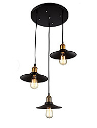 cheap -Vintage Industrial Metal Shade Pendant Lamp With 3-Lights Chandelier Living Room Dining Room Light Fixture