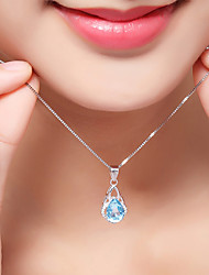 cheap -Women's Synthetic Diamond Pendant Necklace Geometrical Floating Ladies Luxury Classic Bohemian Sterling Silver Zircon White Necklace Jewelry For Christmas Party Graduation Club Beach