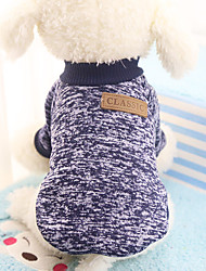 cheap -Dog Sweater Solid Colored Casual / Daily Winter Dog Clothes Yellow Red Blue Costume Acrylic Fibers