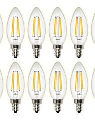 cheap -12PCS 4W 400 lm LED Filament Bulbs C35 4 leds COB Dimmable Decorative Warm White AC 220-240 AC 110-130 V