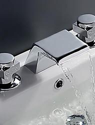 cheap -Bathroom Sink Faucet - Waterfall Chrome Widespread Two Handles Three Holes / Brass