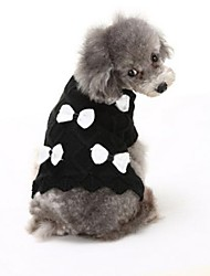 cheap -Dog Sweater Dog Clothes Bowknot White Black Acrylic Fibers Costume For Spring &  Fall Winter Men's Women's Casual / Daily