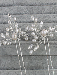cheap -Imitation Pearl / Rhinestone Hair Pin with Faux Pearl 2pcs Wedding / Special Occasion Headpiece
