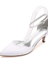 cheap -Women's Wedding Shoes Kitten Heel Cone Heel Low Heel Pointed Toe Wedding Pumps Comfort D'Orsay & Two-Piece Basic Pump Wedding Dress Party & Evening Satin Rhinestone Sparkling Glitter Hollow-out White