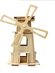 cheap -Toy Car Solar Powered Toy 3D Puzzle Windmill Solar Powered DIY Wooden Classic Kid's Toy Gift
