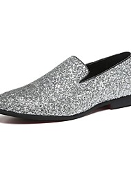 cheap -Men's Loafers & Slip-Ons Novelty Shoes Comfort Shoes Wedding Casual Party & Evening Walking Shoes Paillette Leather Glitter Gold Silver Spring Fall / Sparkling Glitter / Sequin / EU40