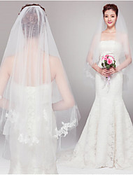 cheap -Two-tier Cut Edge Wedding Veil Blusher Veils / Elbow Veils with Pearl Tulle / Angel cut / Waterfall